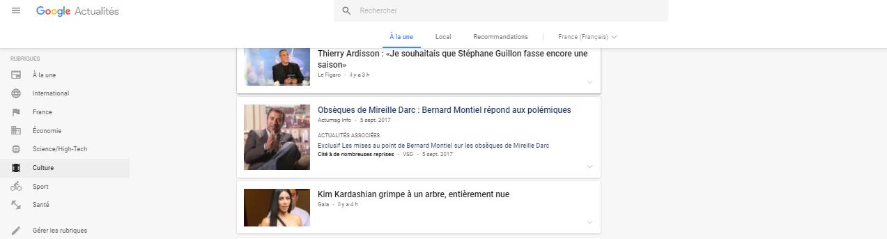 Des articles pour Google Actualités sont achetables chez Camille Gillet